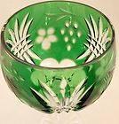 Bohemian Emerald Green Cut Clear Goblet Wine Bar Stemware Glass