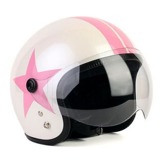 Motorcycle Vespa Scooter Jet Helmet Open Face PINK Star