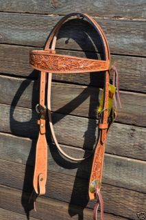 Tex Tan Hand Carved Floral Shaped Brow Brass Concho Headstall