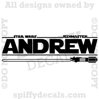 STAR WARS PERSONALIZED CUSTOM NAME LIGHTSABER Boys Vinyl Wall Decal