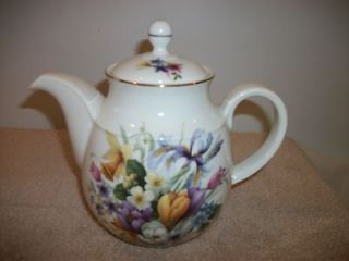 Staffordshire bone china Newhall England spring bouquet teapot 7 1/2