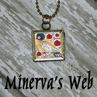 William Morris BIRD for Art Glass Charm Pendant Necklace by Minervas