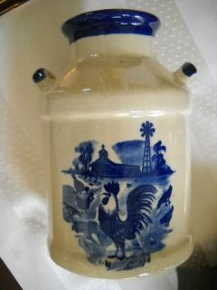 Vintage Stoneware 2 Handle Small Milk Jug Brown & Blue Rooster