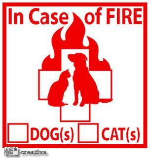 PET Alert   Emergency Dog Cat FIRE Safety Decal Sticker