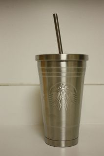 Starbucks Grande 16oz Stainless Steel Cold Reusable Tumbler with straw