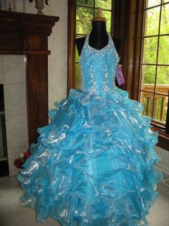 Sugar 81446S Turquoise Shimmering Girls Pageant Gown