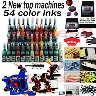 Kit 2 Machine Guns 54 Ink Set Equipment Needle Power Supply D189