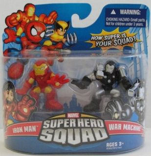 Marvel Super Hero Squad IRON MAN w removable helmet & WAR MACHINE
