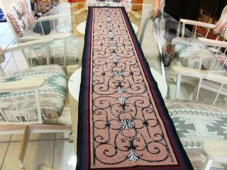 IRON SCROLLWORK LOOK ON TAN 74 TAPESTRY TABLE RUNNER MANTLE SCARF