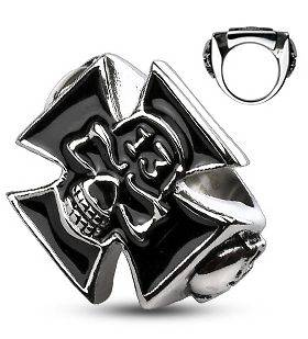 316L Surgical Stainless Steel Lucky 13 Iron Cross Skull Ring 9 10 11
