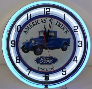 Ford Truck 18 Double Neon Clock Parts Dealer Oval Emblem Garage Sign