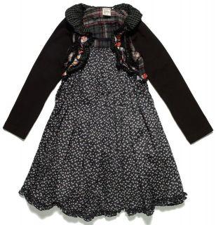 NWT Jottum Holiday Festive Salary Black & Floral Print Dress sz 110 5