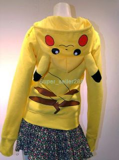 New Kigurumi Pokemon Pikachu Ears Zip Hoodie Coat Cosplay Costume