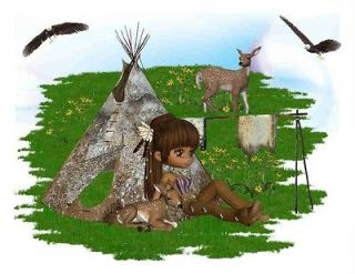 Shirt Cute Native American Girl Indian Teepee Deer Wolf Eagle NWOT
