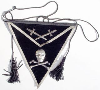 VELVET MASONIC APRON w/ SILVER METAL SCULL & BONES AMES SWORD CO