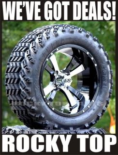 Twister Machined/Black Golf Cart Wheels and 23 All Terrain Tires
