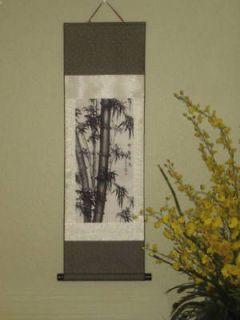 SILK SCROLL ART BAMBOO Wall Chinese Feng Shui Sakura