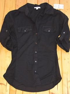 SWAN BREAKING DAWN JAMES PERSE PANEL CONTRAST SHIRT SIZE 2 BLACK NWT