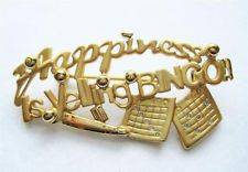 NEW HAPPINESS IS YELLING BINGO PIN BROOCH GOLD BINGO CARDS CASINO