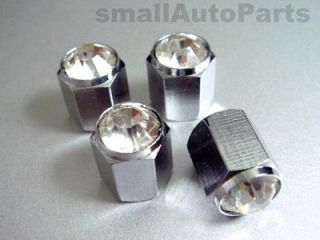 Crystal*Clear*Chrome*Diamond Tire/Wheel air stem valve CAPS for NISSAN