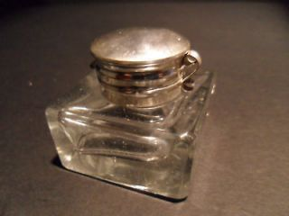 19th C Antique Style Solid Clear Thick Glass Inkwell Ink pot