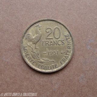 1951  20 franc coin   France   Republique Francaise