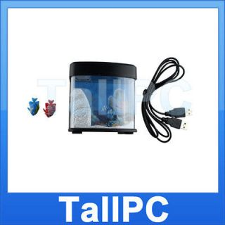 New USB Mini Fish Tank Toy Aquarium with LED Light USA
