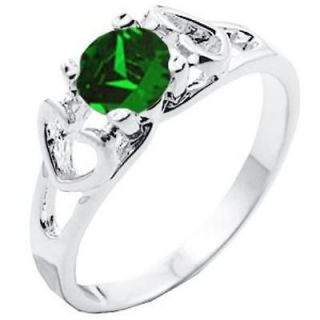New Mother/Daughter Emerald Green CZ Ring   Sizes 5 8
