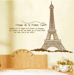60*90cm Huge Paris Eiffel Tower Wall Stickers Decor Decals Art Mutural
