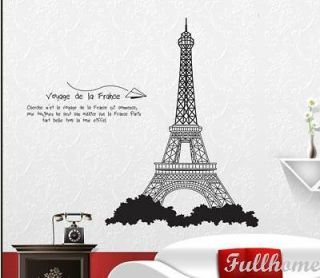 PARIS city EIFFEL TOWER wall room DECOR Decals Removable Vinyl WINDOW