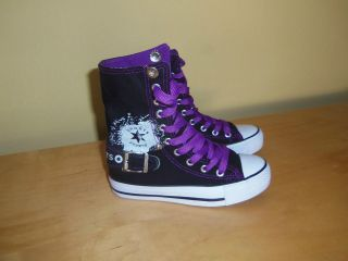 Girls High Top Canvas Sneakers Shoes Black and Purple color!!!New!!