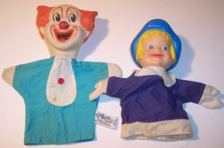 VINTAGE 60S HAND PUPPETS TOY KNICKERBOKER BOZO CLOWN & DUTCH BOY