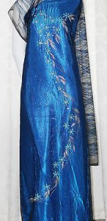 Vietnamese Traditional Dress Ao Dai Bridal Wedding Gown Blue Flowergem