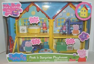 Fisher Price Peppa Pig Peek N Surprise Playhouse Playset Folds Up 2012