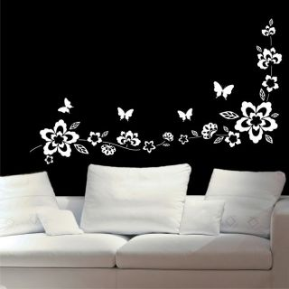 Butterfly Wall Sticker Flower Butterflies Decal Vinyl Transfer Stencil