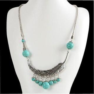 Vintage Style Fashion Women Jewelry Turquoise Tibet Silver SP Pendant