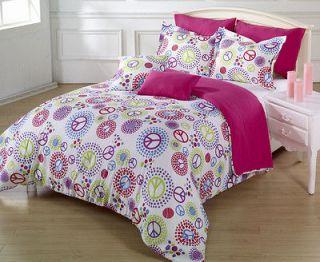 Super Soft Multi Colored Peace Sign White Comforter Set Twin / Twin XL