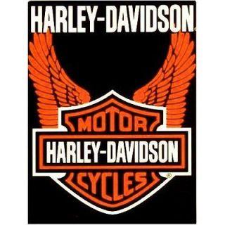 Harley Davidson Orange Wings Blanket Mink Plush Throw Queen 78 x 96