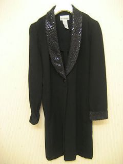 PERCEPTIONS by Irene B BLACK sequins TUXEDO DRESS COAT JACKET size 6 P