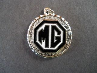 MGA ROADSTER Black White MG Logo Cloisonne Necklace Pendant Medallion