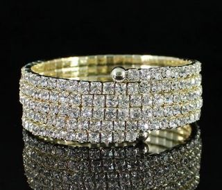 ROW CLEAR AUSTRIAN RHINESTONE CRYSTAL BRACELET ARM BANGLE BRIDAL