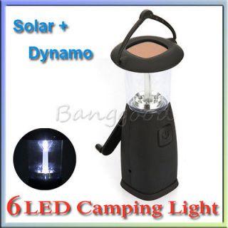 6LED Portable Hand Up Crank Dynamo Solar Camping Bivouac Camp Lantern