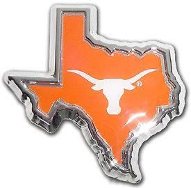 TEXAS LONGHORNS Chrome METAL emblem logo TX SHAPE DOMED COLOR UT