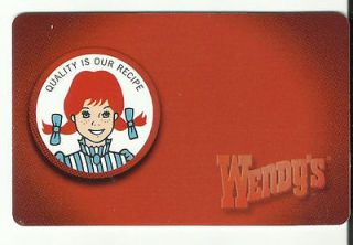 WENDYS 2011 Collectible No Value Gift Card   PORTRAIT   Buy 6 Ship
