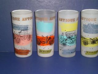 Vintage ANTIQUE AUTOS Frosted GLASS DRINKING TUMBLERS Maxwell Autocar
