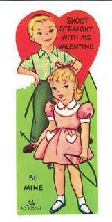 Vintage Valentine Card Archery Boy and Girl 1950s 1960s Die Cut for