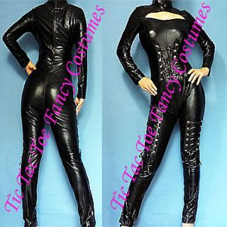 Sexy Black Gothic PVC Vinyl Catsuit Cat Woman Jumpsuit Party Clubwear