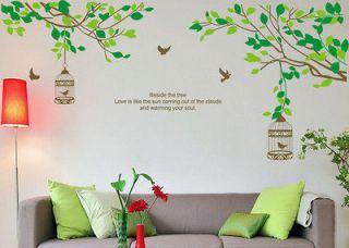 Lovers Tree&Birdcage Birds Wall Stickers Sticker Decor Decals Art