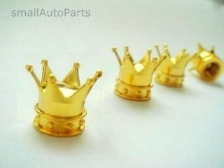 Yellow Gold Crown Tire/Wheel Stem Air Valve CAPS bling set