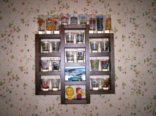 25 Shot Glass Display Case Rack Holder Wall Cabinet, REAL Glass Door